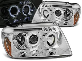 FARI ANTERIORI ANGEL EYES LED JEEP GRAND CHEROKEE 99-05 CROMATI