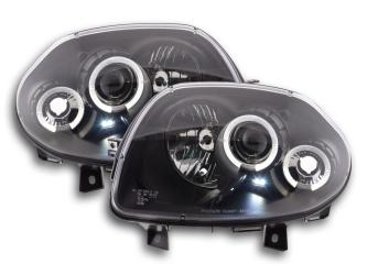 FARI ANTERIORI RENAULT CLIO 2 98-01 ANGEL EYES LED NERI