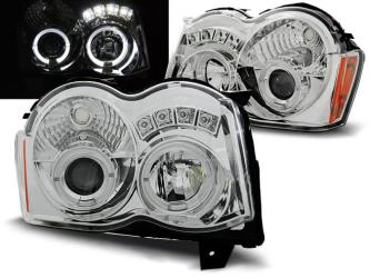 FARI ANTERIORI ANGEL EYES LED JEEP GRAND CHEROKEE (WK) 08-10 CROMATI