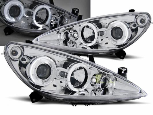 FARI ANTERIORI ANGEL EYES LED PEUGEOT 307 01-05 CROMATI