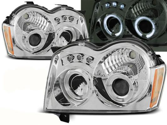 FARI ANTERIORI ANGEL EYES LED JEEP GRAND CHEROKEE (WK) 05-08 CROMATI