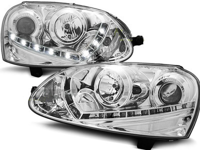 FARI ANTERIORI DAYLINE VW GOLF 5 LED CROMATI