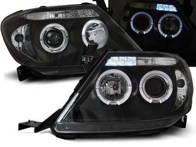 FARI ANTERIORI ANGEL EYES LED TOYOTA HILUX 05-11 NERI