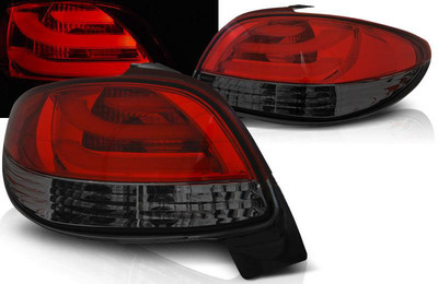 FARI POSTERIORI TUBE LED PEUGEOT 206 berlina Rosso Smoke