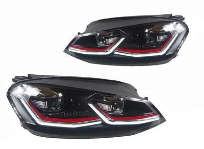 FARI ANTERIORI VW GOLF 7.5 LED GTI LOOK FRECCIA LED BAFFO ROSSO