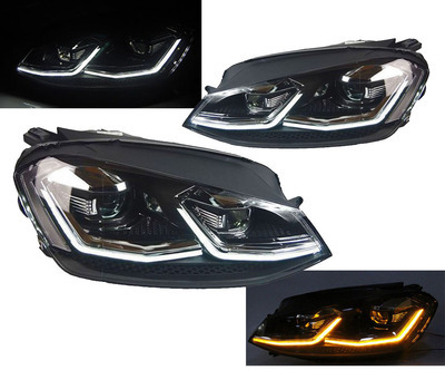 FARI ANTERIORI VW GOLF 7.5 LED R LOOK FRECCIA LED BAFFO CROMO