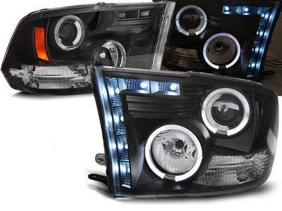 FARI ANTERIORI ANGEL EYES LED DODGE RAM 09-11 NERI