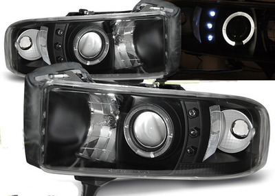 FARI ANTERIORI ANGEL EYES LED DODGE RAM 94-01 NERI