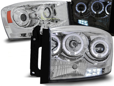 FARI ANTERIORI ANGEL EYES LED DODGE RAM 06-08 CROMATI