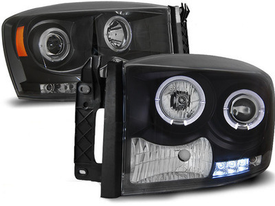 FARI ANTERIORI ANGEL EYES LED DODGE RAM 06-08 NERO
