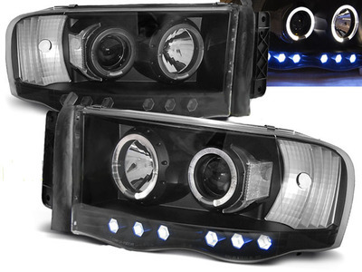 FARI ANTERIORI ANGEL EYES LED DODGE RAM 02-06 NERI