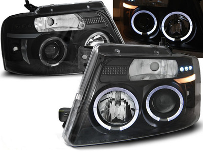 FARI ANTERIORI ANGEL EYES LED FORD F150 04-08 NERI